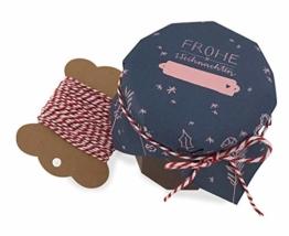 25 Marmeladendeckchen - Frohe Weihnachten - Gläserdeckchen blau rosa für Marmelade, Marmeladengläser & Einmachgläser, Recyclingpapier Abreißblock + 10 m Garn + Justiergummi - 1