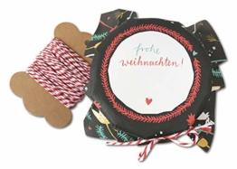 25 Marmeladendeckchen - Frohe Weihnachten - Gläserdeckchen bunt für Marmelade, Marmeladengläser & Einmachgläser, Recyclingpapier Abreißblock + 10 m Garn + Justiergummi, Blumen & Tannenzweige - 1