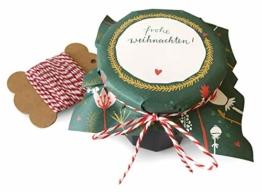 25 Marmeladendeckchen - Frohe Weihnachten - Gläserdeckchen grün für Marmelade, Marmeladengläser & Einmachgläser, Recyclingpapier Abreißblock + 10 m Garn + Justiergummi, Blumen & Tannenzweige - 1