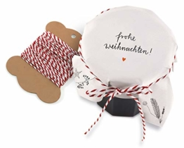 25 Marmeladendeckchen - Frohe Weihnachten - Gläserdeckchen weiß für Marmelade, Marmeladengläser & Einmachgläser, Recyclingpapier Abreißblock + 10 m Garn + Justiergummi - 1