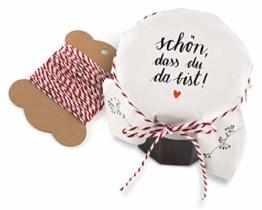 25 Marmeladendeckchen - schön, DASS du da bist - Gläserdeckchen Weiß mit Blumen für Marmelade, Marmeladengläser & Einmachgläser, Recyclingpapier Abreißblock + 10 m Garn + Justiergummi - 1