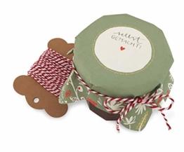 25 Marmeladendeckchen selbstgemacht, florale Gläserdeckchen Grün Creme Gelb Rot zum selbst beschriften für Eingemachtes & selbstgemachte Marmelade, Recyclingpapier Abreißblock, 10m Garn, Justiergummi - 1