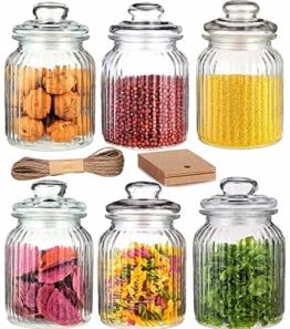6 Vorratsdosen Glas Set / Vorratsglas Groß 1000ml I Luftdicht mit Dichtung I Bonboniere Vorratsbehälter für Lebensmittel - 1