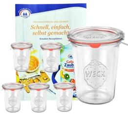 6er Set Original WECK 3/4-Liter Sturzglas, 850 ml, Rundrandglas RR100 + Glasdeckel + Dichtring + Weck-Klammern + GRATIS Rezeptheft, Einmachglas, Einkoch-Set, Einlegen, Einwecken + Konservieren, Glas - 1