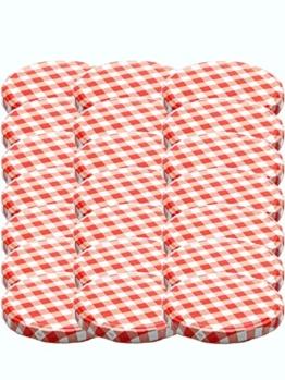 75 Twist-Off-Deckel Verschlüsse Ersatzdeckel Deckel für Sturzgläser To 82 Passend für 230/350 / 435 ml / 565 ml (Rot Karriert) - 1