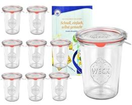 9er Set Original WECK 3/4-Liter Sturzglas, 850 ml, Rundrandglas RR100 + Glasdeckel + Dichtring + Weck-Klammern + GRATIS Rezeptheft, Einmachglas, Einkoch-Set, Einlegen, Einwecken + Konservieren, Glas - 1