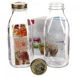 Bormioli 2er Set Einmachglas Original Quattro Stagioni 1,0L Flasche incl Rezeptheft - 1