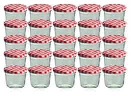 CapCro 25er Set Sturzglas 230 ml Marmeladenglas Einmachglas Einweckglas to 82 rot Karierter Deckel - 1