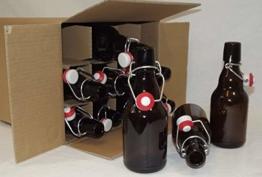 EIN Karton mit 12 Stück Bügelflasche 330 ml Steinie, braun, mit Bügelverschluss - 1