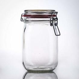 Flaschenbauer- 12 Drahtbügelgläser 1140ml verwendbar als Einmachglas, zu Aufbewahrung, Gläser zum Befüllen, Leere Gläser mit Drahtbügel - 1