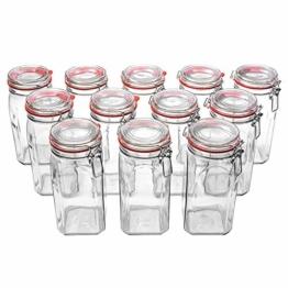 Flaschenbauer - 12 Drahtbügelgläser 1550ml verwendbar als Einmachglas, zu Aufbewahrung, Gläser zum Befüllen, Leere Gläser mit Drahtbügel - 1