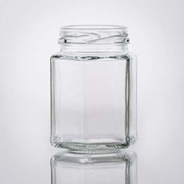 Flaschenbauer- 15x Sechskantgläser 116ml inkl. eines schwarzen Twist-Off Verschluss als Einmachglas, zur Aufbewahrung von Gewürzen oder als kleines Honigglas. - 1