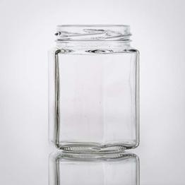 Flaschenbauer- 15x Sechskantgläser 195ml inkl. eines goldenen Twist-Off Verschluss als Einmachglas, zur Aufbewahrung von Gewürzen oder als kleines Honigglas. - 1