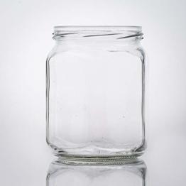 Flaschenbauer- 15x Sechskantgläser 287ml inkl. eines weißen Twist-Off Verschluss als Einmachglas, zur Aufbewahrung von Gewürzen oder als Honigglas. - 1