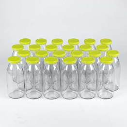 Flaschenbauer - 24 Leere Glasflaschen 250 ml weiß mit Schraubverschluss TO43 0,25l - Zum selbst befüllen von Milchflaschen, Saftflaschen, Smoothie Flaschen (hellgrün) - 1