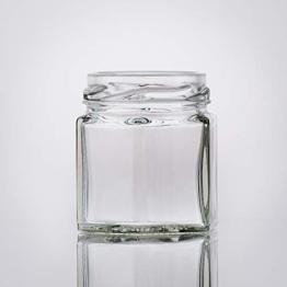 Flaschenbauer- 32x Sechskantgläser 47ml inkl. eines roten Twist-Off Verschluss als Einmachglas, zur Aufbewahrung von Gewürzen oder als kleines Honigglas. - 1