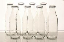 Flaschenbauer - 8 Leere Glasflaschen 1l inkl. Twist-Off-Schraubdeckeln TO48 in weiß - Glasflasche 1 Liter (Weithalsflasche) geeignet als Milchflasche 1l, Saftflasche, Smoothie Flasche - 1