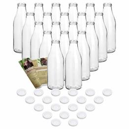 gouveo 20er Set Saftflasche 1.000 ml inkl. Verschluss to 48 Weiß, Likörflaschen, Schnapsflaschen, Essigflaschen, Ölflaschen - 1