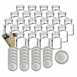 """gouveo 24er Set Einmachgläser""""Quadrat"""" 150 ml Drehverschluss Silber und 28-seitige Flaschendiscount-Rezeptbroschüre, Vorratsgläser, Marmeladengläser, Gewürzgläser, Einweckgläser - 1"""