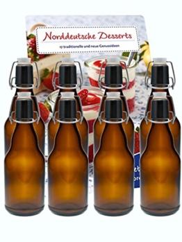 hocz 10er Set Bügelflaschen Bügelflasche Glasflaschen 330ml Braun mit Bügelverschluss zum Selbstbefüllen Bier Bierflaschen Bierflasche - 1