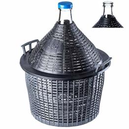 KADAX Glasballon, Gärballon mit Kunststoffkorb, Gummistopfen, schmale Öffnung, Weinballon, Flasche, Glasflasche, Gallone, Gärbehälter, Glasgärballon, Gäreimer (54L) - 1