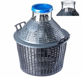 KADAX Glasballon, Gärballon mit Kunststoffkorb, Weite Öffnung, Gummistopfen, Weinballon, Glasgärballon, Flasche, Glasflasche, Gärbehälter, Gallone, Gäreimer (15L) - 1