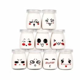 Langlee 9er Set Joghurtgläser mit lustigem Emoticon-Dekor und Deckel, Sahne-Dessertglas Puddingglas Gläser (Kapazität 100 ml) - 1
