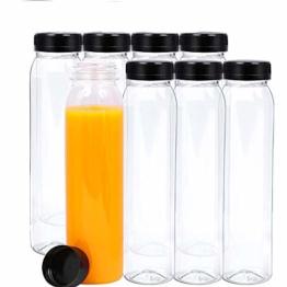leere Glasflaschen, 8 Stück leere Saftflaschen mit Deckel, Wiederverwendbare Plastikwasserflaschen, Leere Saftflaschen,Aufbewahrung von Saft, Milch, Smoothie oder Selbstgemachten Getränken, 400 ML - 1