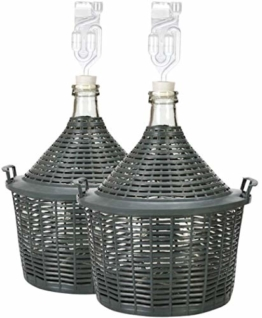 lilawelt24 2X 10 L Glasballon + Gummistopfen+GÄRRÖHRCHEN, Gärballon mit Kunststoffkorb, Weinballon, Flasche, Glasflasche, Gallone, Gärbehälter, Glasgärballon, Gäreimer - 1