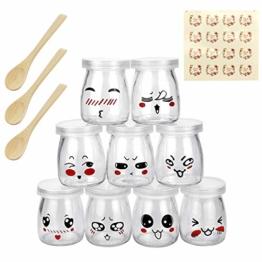 LYTIVAGEN 9 Stück Joghurtgläser Dessertgläser Pudding Gläser mit Holzlöffel, Einmachgläser Gläser mit Deckel Kleine Glasflasche für Pudding, Milch, Joghurt, Dessert, Süßigkeiten - 1