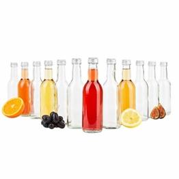 MamboCat 12er Set Bordeaux Flasche klar + Silberne Schraubdeckel I 250 ml I Leere Glasflasche zum Abfüllen von Wein, Likör & Spirituosen I kleine Trinkflasche rund - 1