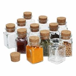 MamboCat 12tlg. Gewürzgläserset mit Korkverschluss I Vierkantglas 150 ml I Wiederverwendbare Vorratsdose zur Aufbewahrung von Küchenkräutern & Gewürzen - 1