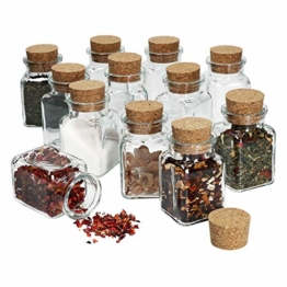 MamboCat 12tlg. Gläserset Teeglas mit Korkverschluss I Vierkantglas 150 ml I Wiederverwendbare Vorratsdose zur Aufbewahrung von Küchenkräutern & Gewürzen - 1