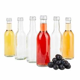 MamboCat 6er Set Bordeaux Flasche klar + Silberne Schraubdeckel I 250 ml I Leere Glasflasche zum Abfüllen von Wein, Likör & Spirituosen I kleine Trinkflasche rund - 1