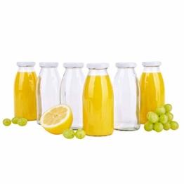MamboCat 6er Set Saftflaschen 250 ml + Twist-Off Deckel TO43 weiß I bauchige Glasform I Glasflasche zum Befüllen I Karaffe I Milchflasche I Deko-Vase I Trinkflasche I Schüttdosen - 1