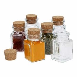 MamboCat 6tlg. Gewürzgläserset mit Korkverschluss I Vierkantglas 150 ml I Wiederverwendbare Vorratsdose zur Aufbewahrung von Küchenkräutern & Gewürzen - 1