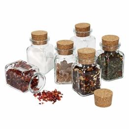 MamboCat 6tlg. Gläserset Teeglas mit Korkverschluss I Vierkantglas 150 ml I Wiederverwendbare Vorratsdose zur Aufbewahrung von Küchenkräutern & Gewürzen - 1