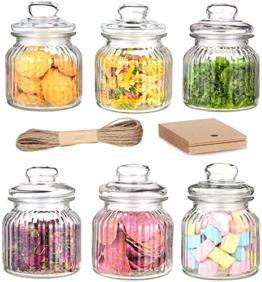Praknu 6 Vorratsgläser Set 700ml Glas   Luftdichte Deckel mit Dichtung   Vorratsbehälter für Lebensmittel - 1