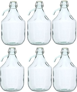 Unbekannt 6 STÜCK 5L Gärballon mit BÜGELVERSCHLUSS Flasche Glasballon Weinballon Bügelflasche Glasflasche - 1