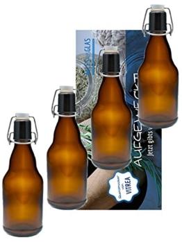 Vitrea 10er Set Bügelflaschen Bügelflasche Glasflaschen 330ml Braun mit Bügelverschluss zum Selbstbefüllen Bier Bierflaschen Bierflasche - 1