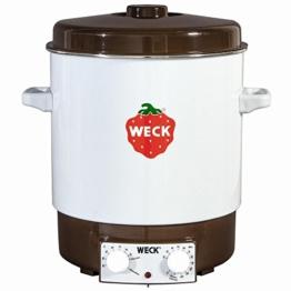 WECK Einkochautomat, Einweckautomat mit 2-fach Emaillierung zur hervorragenden Wärmeisolierung, Präzisionsthermostat, geschlossener Topfboden, Entsafter, Entsafterschaltung, zum Einkochen von Obst und Gemüse, Einkochvollautomat, Überhitzungsschutz, ca. 2000 Watt, Ø 36 cm,  29 Liter Fassungsvermögen, Zeitschaltuhr, Einlegerost, für ca. 14 Gläser, - 1