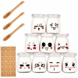 Yangbaga Joghurtgläser 9 Gläser mit Deckel, Gläser für Vorspeisen und Desserts, ideal zum Anrichten und Präsentieren von Speisen, 100ml - 1